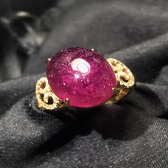 18K金红碧玺光面椭圆形镶嵌戒指92501656