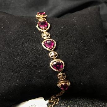 18K金红碧玺水滴形镶嵌手链(主石5颗)92501658