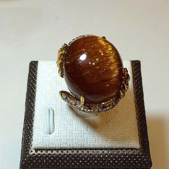 18K金铜发晶镶嵌戒指92100743