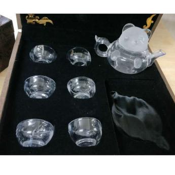 巴西(BRA)水晶矿提纯熊猫茶具传统礼盒(1壶6薄杯)(藏品)35102153