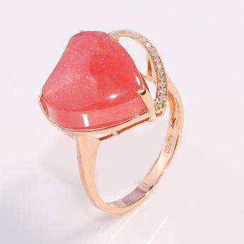 18K玫瑰金镶嵌红纹石戒指92103541