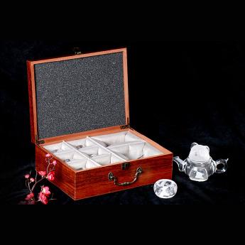 巴西(BRA)水晶矿提纯熊猫茶具礼盒(1壶6厚光杯#12)(藏品)35102812