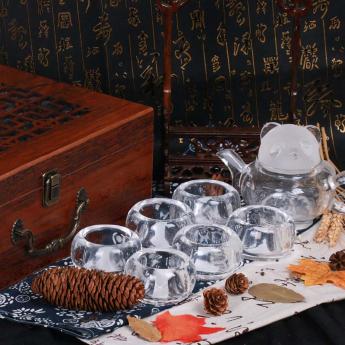 巴西(BRA)水晶矿提纯熊猫茶具礼盒(1壶6厚光杯#12)(藏品)35102820