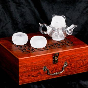 巴西(BRA)水晶矿提纯熊猫茶具礼盒(1壶6厚砂杯#12)(藏品)35102821
