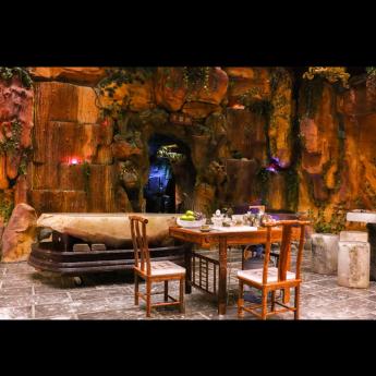 巴西(BRA)水晶矿提纯去痔原石板配楠榆木茶台椅(小)35000342