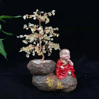 小沙弥佛系发财树(智慧黄晶)94000566