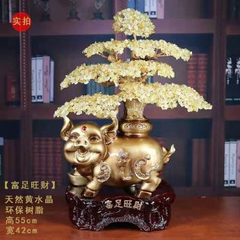 十二生肖旺财猪发财树(黄晶)94000547