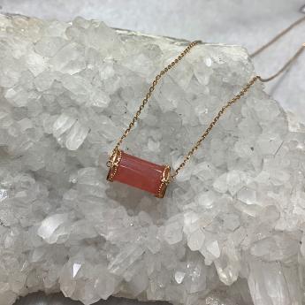 18K玫瑰金镶嵌红纹石锁骨链礼盒套装82800124
