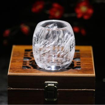 巴西(BRA)水晶矿提纯刻繁体心经鼓形杯(无上色)(礼盒#12)35103237